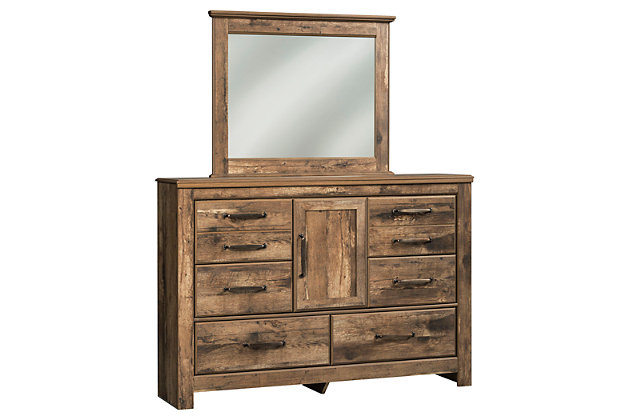 Blaneville Queen Panel Bed with Mirrored Dresser and Chest, Brown, large