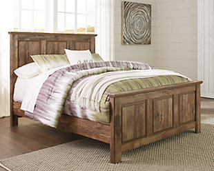Blaneville Queen Panel Bed with Mirrored Dresser, Brown, large