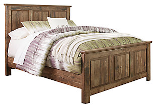 Blaneville Queen Panel Bed with Mirrored Dresser, Brown, rollover