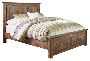Blaneville Queen Panel Bed with 2 Storage Drawers, Brown, large