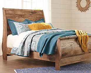 Blaneville Queen Sleigh Bed, Brown, rollover
