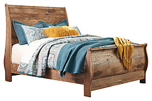 Blaneville Queen Sleigh Bed, Brown, large