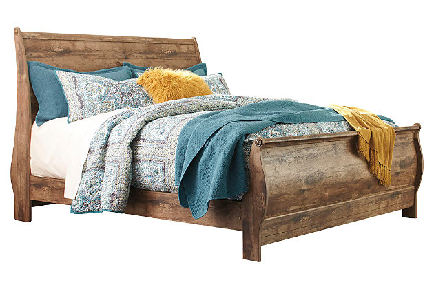 Blaneville King Sleigh Bed, Brown, large