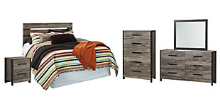 Cazenfeld Queen Panel Headboard Bed with Mirrored Dresser, Chest and Nightstand, , large