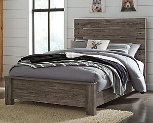 Cazenfeld Full Panel Bed, Black/Gray, rollover
