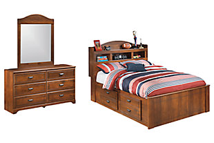 Barchan Full Bookcase Bed with 2 Storage Drawers with Mirrored Dresser, , large