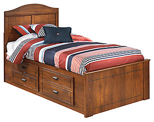 Barchan Twin Panel Bed with 4 Storage Drawers, Medium Brown, large