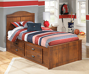 Barchan Twin Panel Bed with 4 Storage Drawers, Medium Brown, rollover