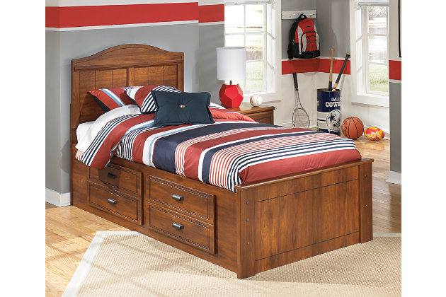 Barchan Twin Panel Bed with 2 Storage, Medium Brown, large