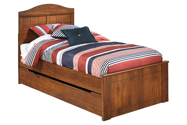 Barchan Twin Panel Bed with Trundle, Medium Brown, large