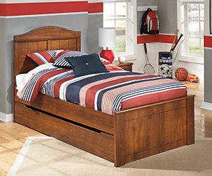 Barchan Twin Panel Bed with Trundle, Medium Brown, rollover