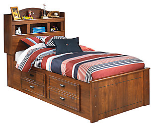 Barchan Twin Bookcase Bed with 4 Storage Drawers, Medium Brown, large