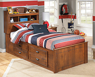 Barchan Twin Bookcase Bed with 2 Storage Drawers, Medium Brown, rollover