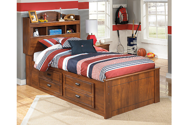 Barchan Twin Bookcase Bed with 2-Storage, Medium Brown, large