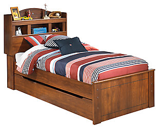 Barchan Twin Bookcase Bed with Trundle, Medium Brown, large
