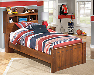 Barchan Twin Bookcase Bed, Medium Brown, rollover