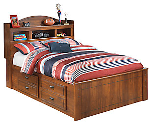 Barchan Full Bookcase Bed with 4 Storage Drawers, Medium Brown, large