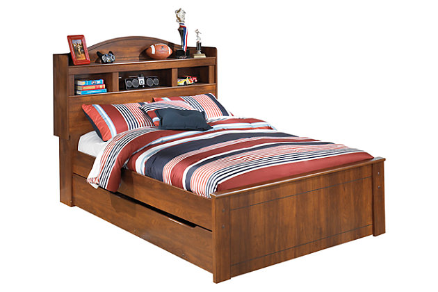 Barchan Full Bookcase Bed with Trundle, Medium Brown, large