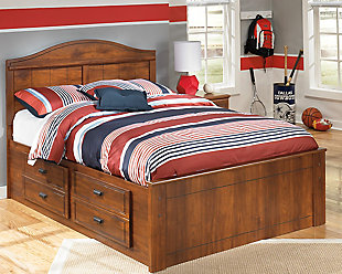 Barchan Full Panel Bed with Storage, Medium Brown, rollover