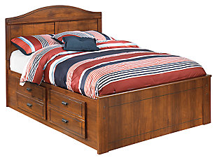 Barchan Full Panel Bed with 2 Storage Drawers, Medium Brown, large