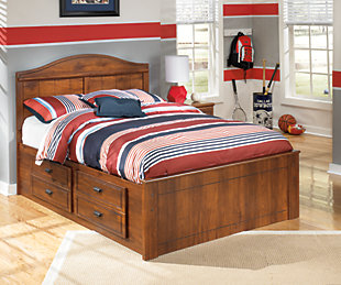 Barchan Full Panel Bed with 2 Storage, Medium Brown, rollover