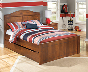 Barchan Full Panel Bed with Trundle, Medium Brown, rollover