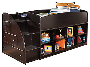 Embrace Loft Bookcase Bed with Right Steps, , large