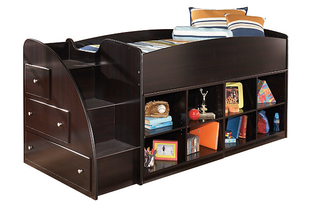 Dark Brown Embrace Loft Bookcase Bed with Right Steps by Ashley HomeStore
