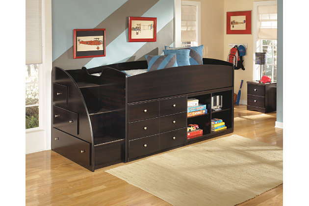 Embrace Twin Loft Bed with Right Steps by Ashley HomeStore, Dark Brown
