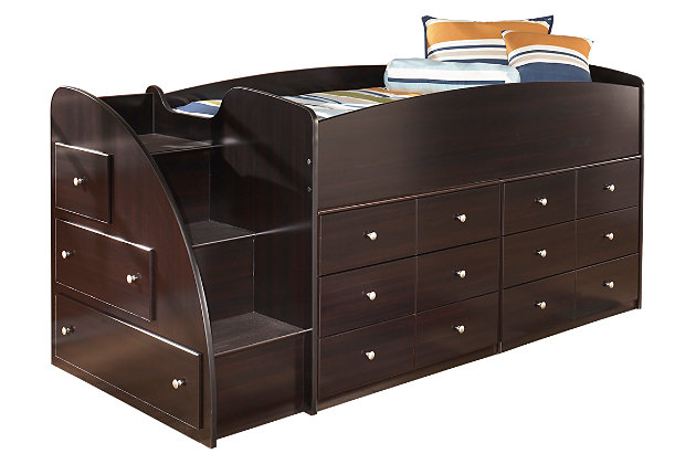 Dark Brown Embrace Loft Storage Bed with Left Steps by Ashley HomeStore