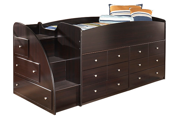 Dark Brown Embrace Loft Storage Bed with Right Steps by Ashley HomeStore