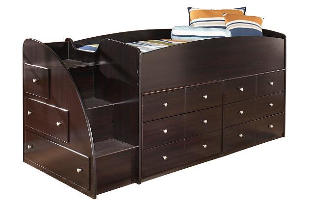 loft storage bed. bedroom furniture on a white background loft storage bed s