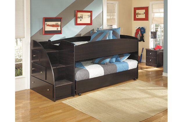 Embrace Loft Bed with Caster and Left Steps, , large