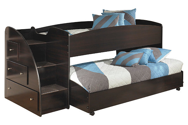 Dark Brown Embrace Loft Bed with Caster and Left Steps by Ashley HomeStore
