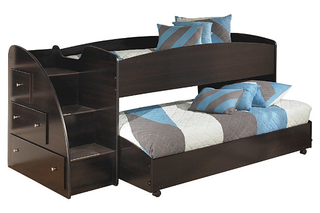 Dark Brown Embrace Loft Bed with Caster and Right Steps by Ashley HomeStore