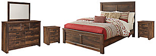 Quinden Queen Panel Bed with Mirrored Dresser and 2 Nightstands, , large