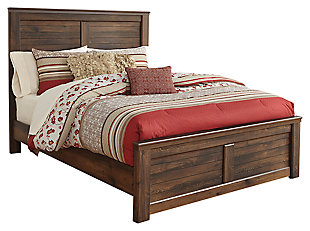 Quinden Queen Panel Bed, Dark Brown, large