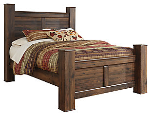 Quinden Queen Poster Bed, Dark Brown, large