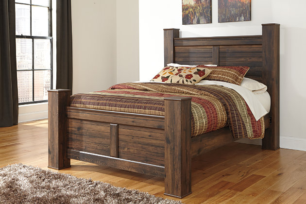 Rustic Dark Wood Quinden Queen Bed Frame