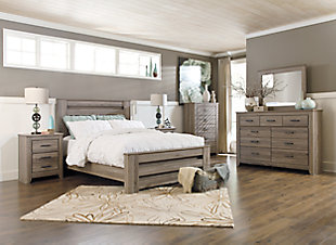Zelen Queen Panel Bed with Dresser Mirror and Nightstand, Warm Gray, rollover