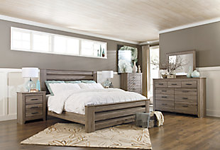 Zelen King Panel Bed with Dresser Mirror and Nightstand, Warm Gray, large