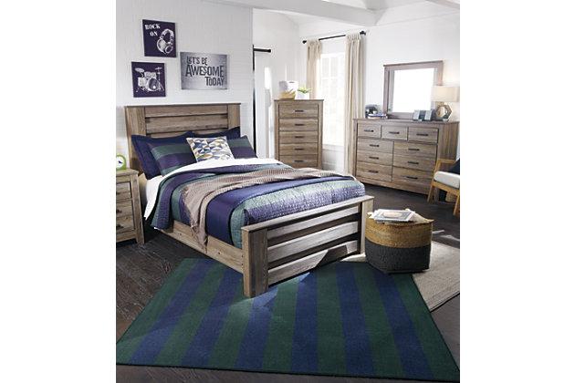 Zelen Full Panel Bed, Warm Gray, large