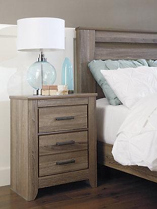 Zelen Queen Panel Bed with Dresser Mirror and Nightstand, Warm Gray, large