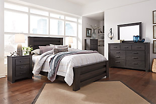 Brinxton Queen Panel Bed with Dresser Mirror and Nightstand, Black, rollover
