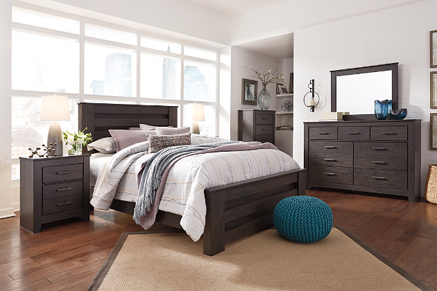 Brinxton Queen Poster Bed, Black, large