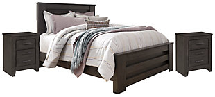 Brinxton Queen Panel Bed with 2 Nightstands, , large