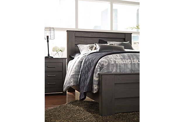 Brinxton Queen Panel Bed with Dresser Mirror and Nightstand, Black, large