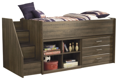 Ashley Twin Loft Bed with Drawer Storage, Dark Brown