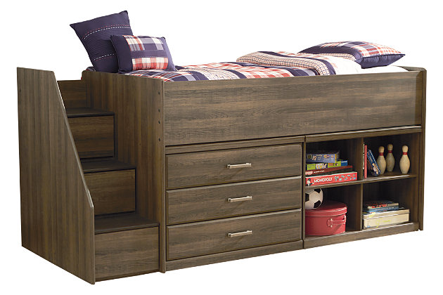 Juararo Loft Bookcase Bed with Storage, , large