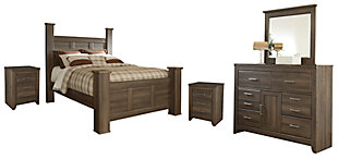 Juararo Queen Poster Bed with Mirrored Dresser and 2 Nightstands, , large